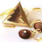 Dreieckschachtel Tannenfenster,9x9x3 cm, gold