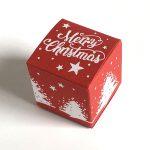 Geschenkschachtel Würfel 4x4 cm merry christmas rot