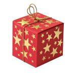 Geschenkschachtel Würfel 4x4 cm, rot mit Goldsternen