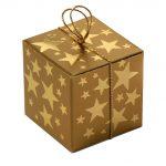 Geschenkschachtel Würfel 4x4 cm, Goldsterne