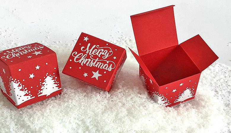 Würfel 4x4 cm merry christmas rot